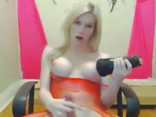 "Horny Hot Blonde Tranny Playing with her Toy"" class=""th-mov"