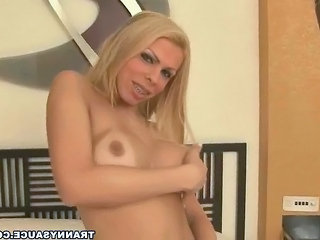 tasty blonde tranny hottie strips and masturbates Sex Tubes