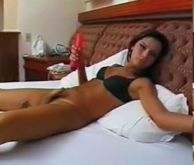 Tranny playing in the bed