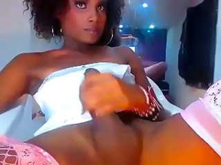 Ebony Tgirl eats her Dick juice