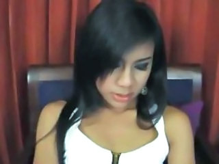 Cute ladyboy oil enjoys her solo