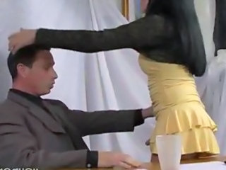 Latina ladyboy in the office