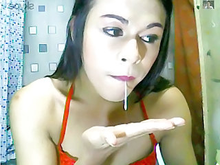 my ladyboy busting her balls and cuming