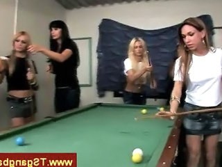 Trannies Seduce Man While Playing Pool
