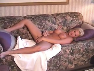 BLONDE SHEMALE MASTURBATES AND CUMS