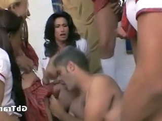 Shemales In Schoolgirl Uniform Ass Fuck Guy In Gangbang