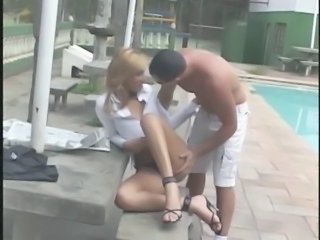 Tranny getting her ass fucked by the pool