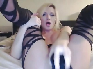Hot And Horny Blonde Tranny Masturbating
