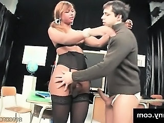 Tranny school girl gets fucked by her teacher