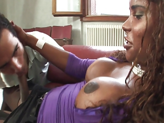 Down in the mouth well-endowed felonious Latina TS fucks guy.