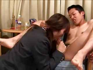 Simmering japanese schoolgirl fucks their similar to one another boyfriends ass.