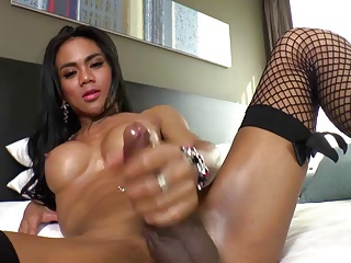 Asian ladyboy cums a hunger scale