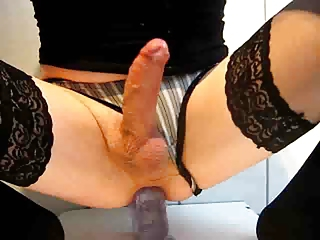 Hot Crossdresser Rides Dildo Around an besides be worthwhile for Cums