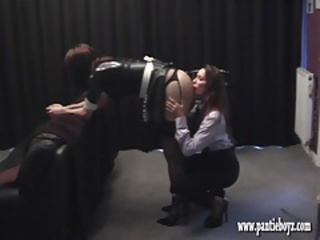 Domme gives sexy spandex pantie maid a fine ass smacking