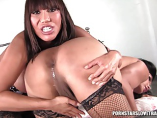 TS Vanity and Ava Devine anal licking and fucking