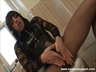 Filthy tranny slut with enormous hard-on masturbates to spunk on nylons