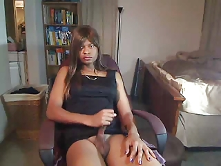Hot Ebony Crossdresser Shows Off For The Camera