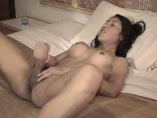 Asian Shemale Wanks To Cum