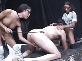 Ginormous dicked shemales cum in  guys mouth