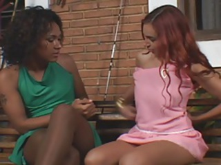 Shemale fucks girl in pantyhose