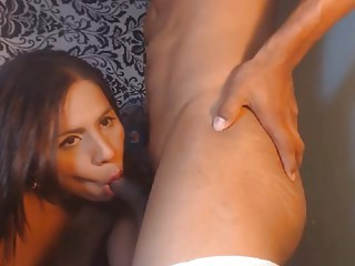Latina shemale Sucks her boyfriends cock