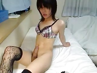 very sexy japanese ladyboy cums for us