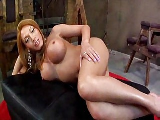 HOT FUCKING TRANNY WTH HUGE TITS AND A 12 INCH HUNG COCK IN FISHNET BODYSUIT!
