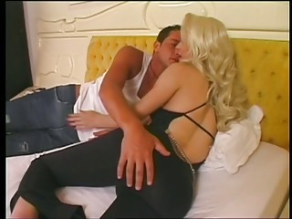 Blonde transsexual milf gives sensual blowjob