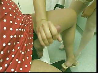 Tranny in red dress gets blowjob and fucks pussy and ass of blond nurse