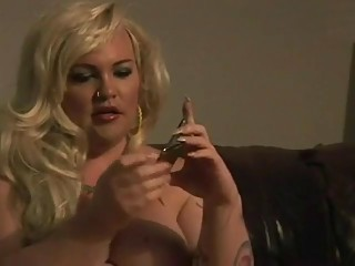 BBW Shemale Smoking and Jerking