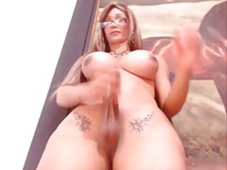 Big dick big tits shemale jerking on camera part1