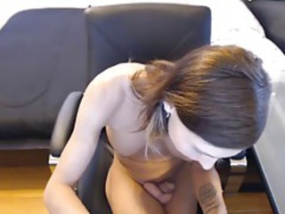 Cute skinny tranny perfect boobs playing with shaved cock #2