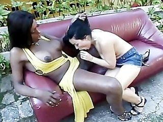 big black dick, blowjob shemales, cumshot, interracial, outdoors