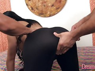 Brunette shemale fucked bareback by 2 men