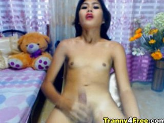 Horny Tranny Cums and Eats her Jizz