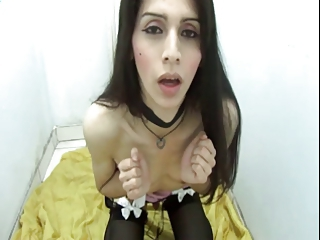 The Crazy Play of a petite Tgirl in a small Room