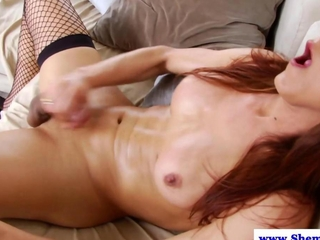 Amateur solo tranny cums after wanking his dick