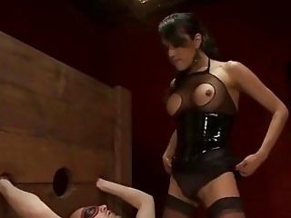 Blindfolded shackled guy fucks tranny
