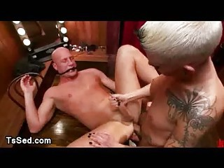 Tranny fucks guy ass to ass and gives him facial in Cabaret
