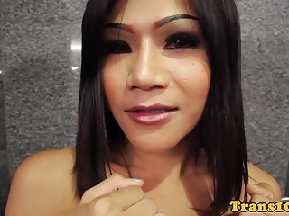 Lingerie ladyboy doggystyled before facial