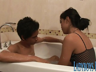 Shemale Patti Soapy Cock Massage