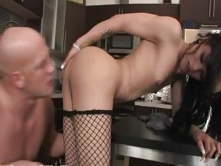 Unbelievable shemale chick in kitchen