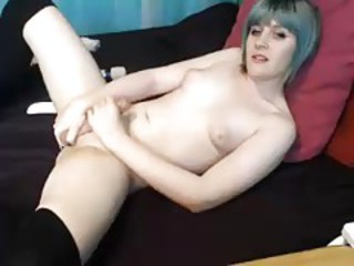 Cute Canadian tgirl jerks off and cums
