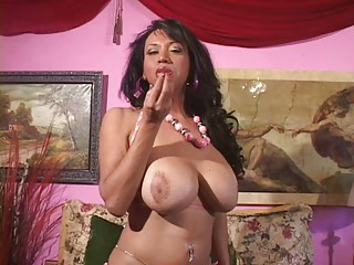 Chubby tranny cock and boobie play